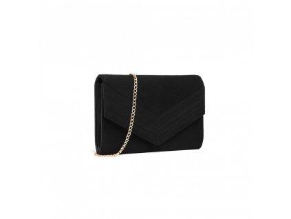 Večerní kabelka psaníčko kožené Miss Lulu LP1963 BK černá (3)