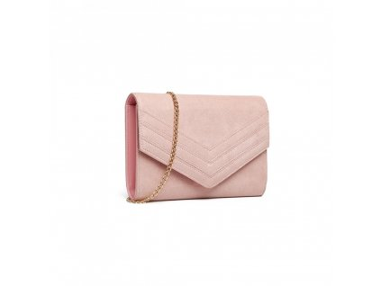 Večerní kabelka psaníčko kožené Miss Lulu LP1963 PK růžová (3)