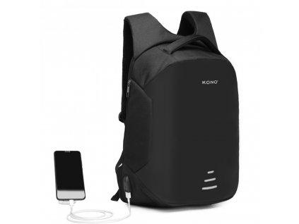 Stylový městský batoh nejen na notebook s USB nabíjecím portem Kono E1946 BK černý (4)