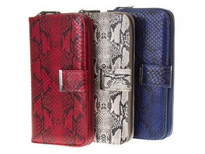Velká dámská peněženka na zip Jennifer Jones umělá kůže červená modrá čedá 11040 6 (2)