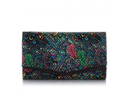 Dámská kožená peněženka Paolo Peruzzi L23 černá květovaný vzor přihrádka na mince na zip (2)