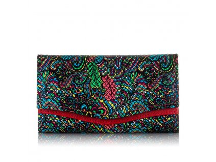 Dámská kožená peněženka Paolo Peruzzi L15 červená s potiskem květy (1)