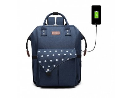 Mateřský přebalovací batoh na kočárek E1945 NY modrý KONO ModexaStyl (1)