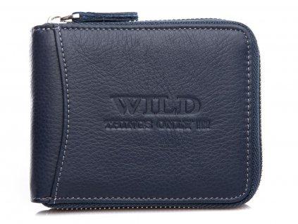 Pánská kožená peněženka na zip Wild 5267 modrá modexaStyl (2)