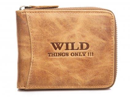 Pánská kožená peněženka na zip Wild 5267 koňaková hnědá ModexaStyl (2)