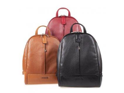 Dámský kožený batůžek David Jones CM5929 červený černý hnědý ModexaStyl