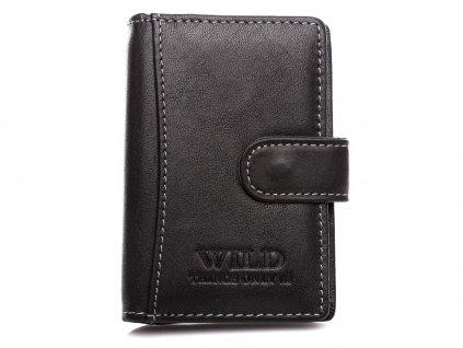 Kožené pouzdro na doklady karty a vizitky Wild 5515 černé ModexaStyl (2)