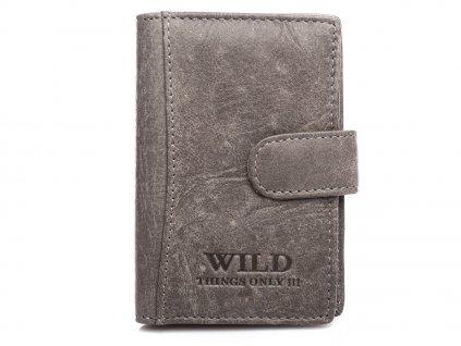 Kožené pouzdro na doklady karty a vizitky Wild 5515 šedé ModexaStyl (2)