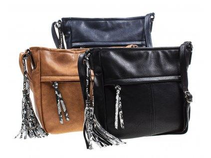 Crossbody kabelka přes rameno Paula Rossi ve třech barvách 7627 1 černá modrá koňaková hnědá ModexaStyl