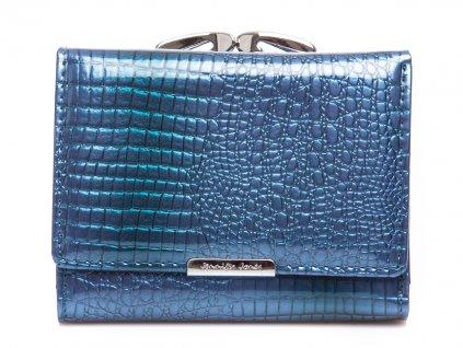 Malá dámská kožená peněženka na klip modrá Jennifer Jones 5243 2 BK ModexaStyl (2)