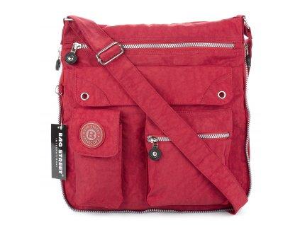 Lehká volnočasová kabelka přes rameno crossbody červená bag Street 2221 ModexaStyl (2)