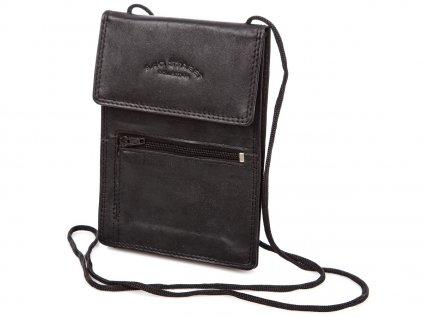 Kožené pouzdro na doklady se šňůrkou na krk černé Bag Street 5401C ModexaStyl (3)