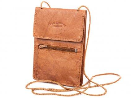 Kožené pouzdro na doklady se šňůrkou na krk hnědé Bag Street 5401C ModexaStyl (3)