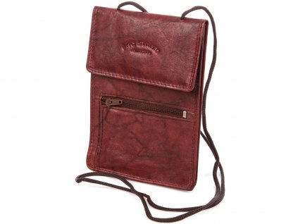 Kožené pouzdro na doklady se šňůrkou na krk červeno hnědé Bag Street 5401C ModexaStyl (3)