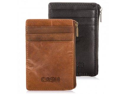 Kožené pouzdro na karty s kapsou na zip černé a hnědé Cash 5618 ModexaStyl (6)