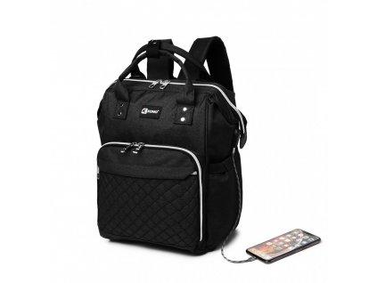 Mateřský přebalovací batoh nejen na kočárek Kono černý E6705USB ModexaStyl (7)