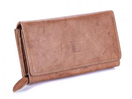 Kvalitní dámská kožená peněženka Money Maker 12137B světle hnědá ModexaStyl (2)