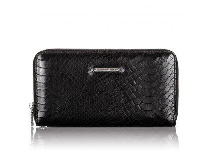 Velká dámská kožená peněženka na zip s poutkem na karabinu černá Jennifer Jones 5239 ModexaStyl
