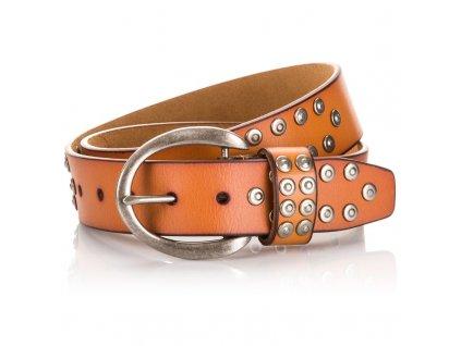 Dámský kožený opasek s cvoky AB939 - oranžový
