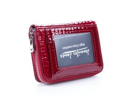 Malá dámská kožená peněženka červená lakovaná Jennifer Jones 5262 2 ModexaStyl (2)