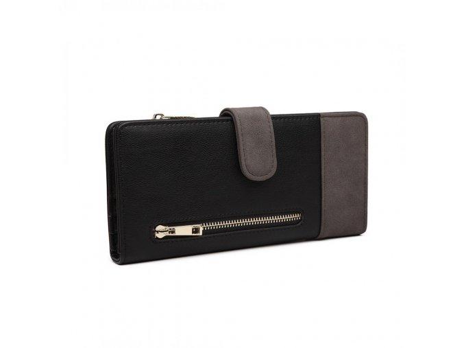 Dámská velká peněženka z umělé kůže Miss Lulu černo šedá LN6883 GY BK (3)