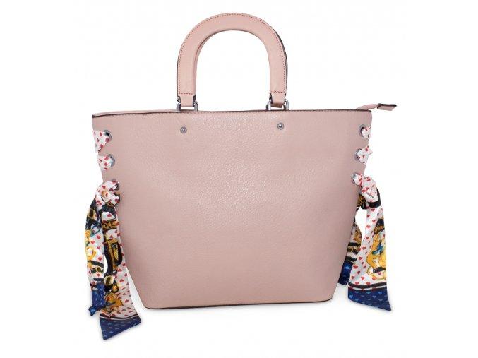 Dámská kabelka do ruky a přes rameno s dekorativním šátkem 888 PK růžová (2)