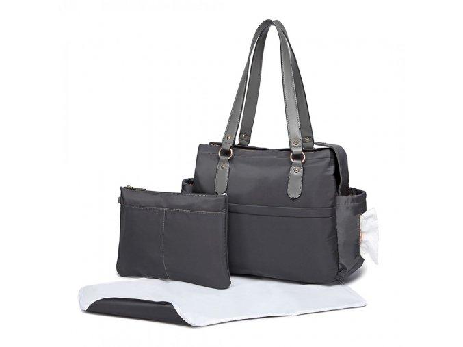 Mateřská přebalovací taška na kočárek Miss Lulu šedá LT6852 (2)