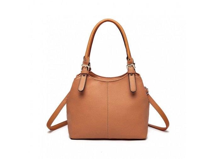 Malá kabelka do ruky a přes rameno umělá kůže Miss Lulu LH1947 BN hnědá (2)