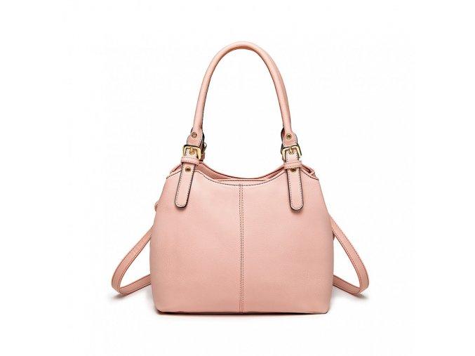 Malá kabelka do ruky a přes rameno umělá kůže Miss Lulu LH1947 PK růžová (2)