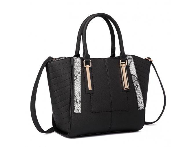 Elegantní dámská kabelka do ruky černá Miss Lulu LT1703 BK černá (3)