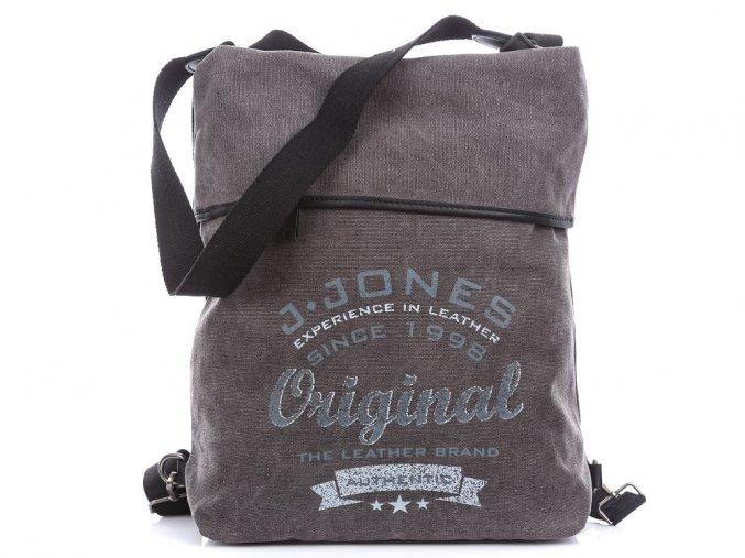 Dámský batoh a kabelka přes rameno 2v1 Canvas 4558 šedý Jennifer Jones (2)