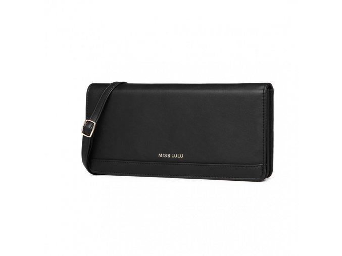 Elegantní víceúčelová malá kabelka psaníčko peněženka černá Miss Lulu LP6909 BK (3)