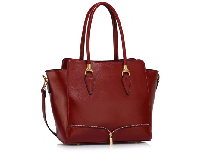 Elegantní kabelka do ruky a přes rameno LS00456 LS Fashion vínová burgundy ModexaSty (2)