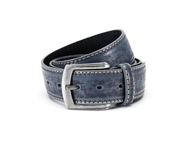Pánský kožený opasek modrý GIL 9986 ModexaStyl (2)