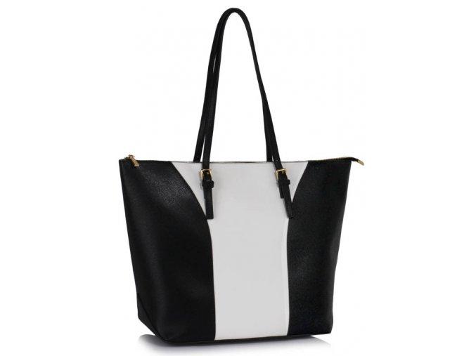 Elegantní kabelka přes rameno LS Fashion LS00496 černá bílá ModexaStyl (2)