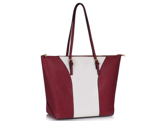 Elegantní kabelka přes rameno LS Fashion LS00496 vínová bílá ModexaStyl (2)
