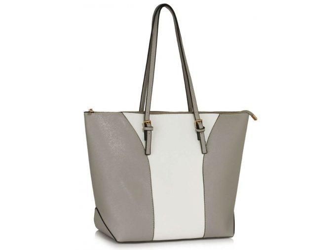 Elegantní kabelka přes rameno LS Fashion LS00496 šedá bílá ModexaStyl (2)