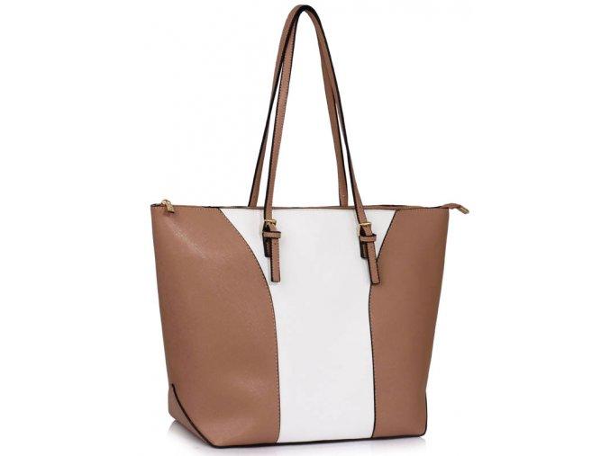 Elegantní kabelka přes rameno LS Fashion LS00496 béžová bílá ModexaStyl.jpg (2)