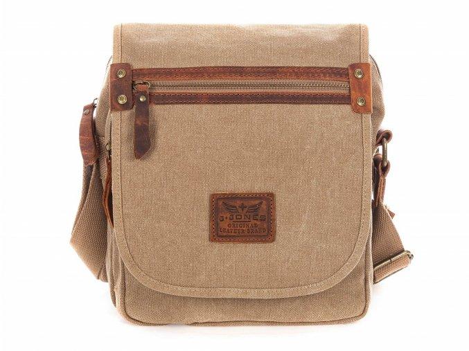 Pánská taška přes rameno hnědá plátno Canvas plátěná 4556 J JONES Modexa (12)