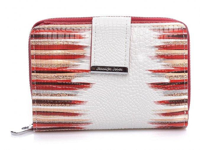 Malá dámská kožená peněženka Jennifer Jones 5198 bílo červená ModexaStyl (2)