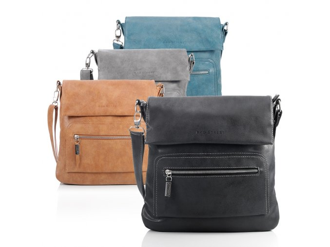 Crossbody kabelka přes rameno Bag Street 3423 ModexaStyl černá hnědá šedá modrá koňaková