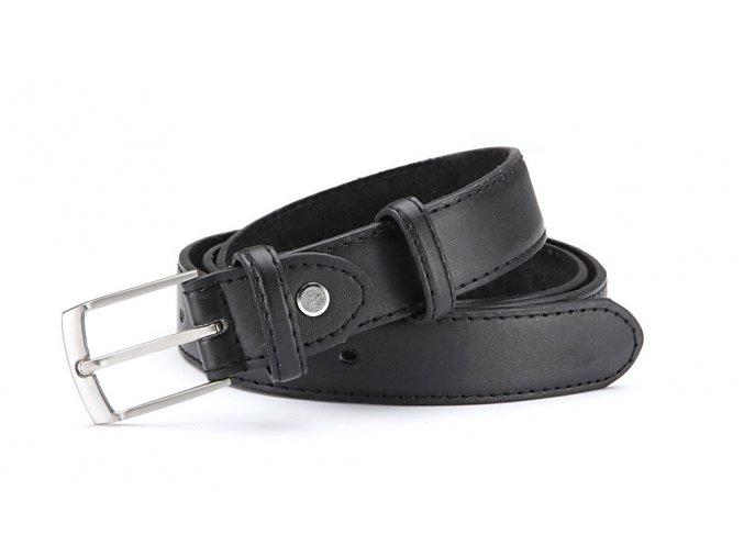 Pánský kožený opasek prošívaný - černý 10098A-1