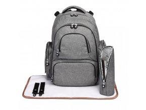 Mateřský přebalovací batoh na kočárek Miss Lulu E6706 šedý (2)