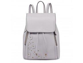 Dámský kožený batoh šedý Miss Lulu LH6808 (2)