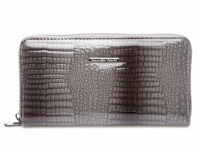 Velká dámská kožená peněženka na zip 5247 2 šedá Jennifer Jones (2)