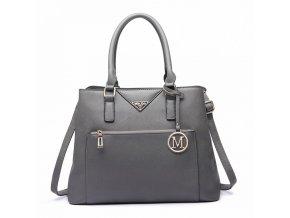 Elegantní dámská kabelka do ruky a přes rameno šedá LT6611 GY Miss Lulu (3)