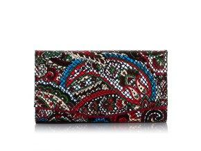 Dámská kožená peněženka Paolo Peruzzi L24 červená s potiskem květy (1)
