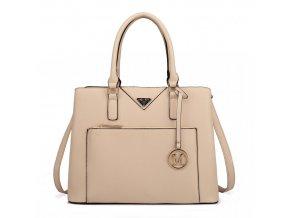 Elegantní dámská kabelka do ruky a přes rameno béžová LT6611 BG Miss Lulu (2)