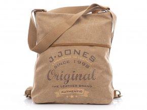 Dámský batoh a kabelka přes rameno 2v1 Canvas 4558 hnědý Jennifer Jones (7)