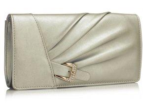 Večerní kožená kabelka psaníčko LSE304 stříbrná ModexaStyl (2)